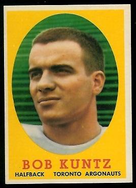 Bobby Kuntz 1958 Topps CFL football card