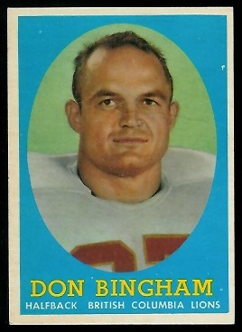 Don Bingham 1958 Topps CFL football card