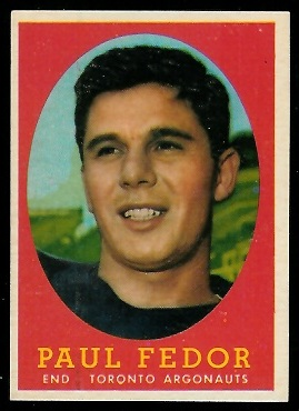 Paul Fedor 1958 Topps CFL football card