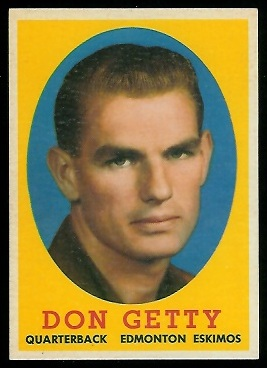 Don Getty 1958 Topps CFL football card