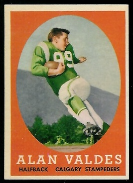Alan Valdes 1958 Topps CFL football card