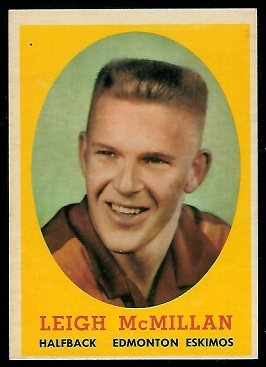 Leigh McMillan 1958 Topps CFL football card