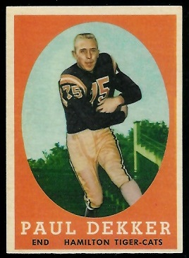 Paul Dekker 1958 Topps CFL football card