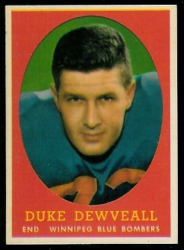 Willard Dewveall 1958 Topps CFL football card