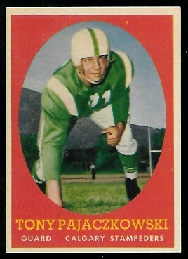 Tony Pajaczkowski 1958 Topps CFL football card