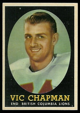 Vic Chapman 1958 Topps CFL football card