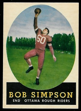 Bob Simpson 1958 Topps CFL football card