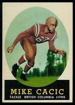 Mike Cacic 1958 Topps CFL football card