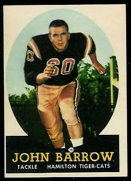John Barrow 1958 Topps CFL football card