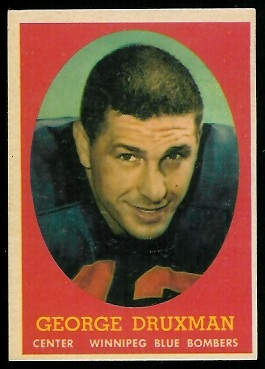 George Druxman 1958 Topps CFL football card