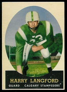 Harry Langford 1958 Topps CFL football card
