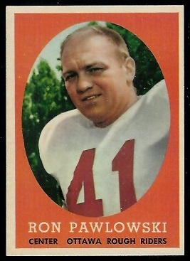 Ron Pawlowski 1958 Topps CFL football card