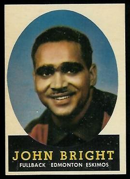 John Bright 1958 Topps CFL football card