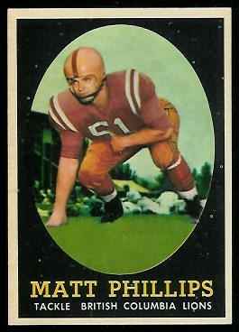 Matt Phillips 1958 Topps CFL football card