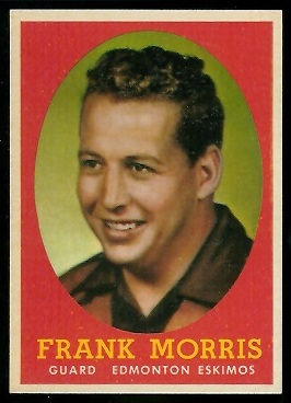 Frank Morris 1958 Topps CFL football card