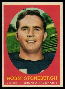 Norm Stoneburgh 1958 Topps CFL football card