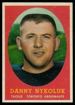 Danny Nykoluk 1958 Topps CFL football card