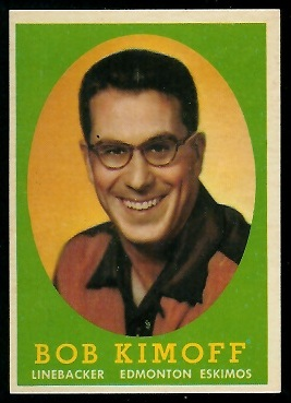 Bob Kimoff 1958 Topps CFL football card