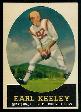 Earl Keeley 1958 Topps CFL football card