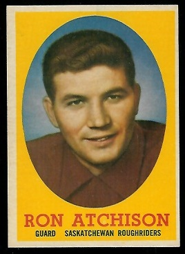 Ron Atchison 1958 Topps CFL football card