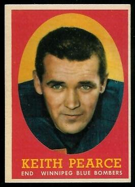 Keith Pearce 1958 Topps CFL football card