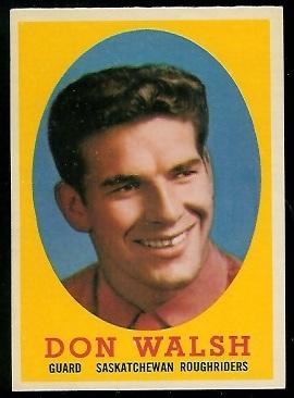 Don Walsh 1958 Topps CFL football card