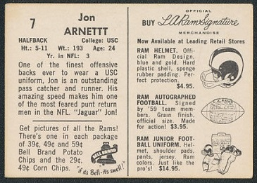 Back of Jon Arnett 1959 Bell Brand Rams football card