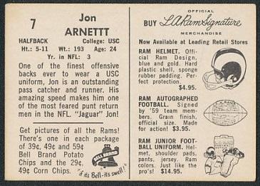 Back of Jon Arnett 1959 Bell Brand Rams football card