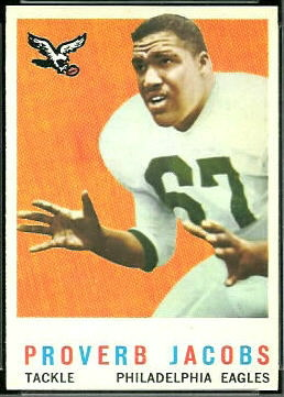 Proverb Jacobs 1959 Topps football card