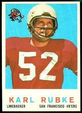 Karl Rubke 1959 Topps football card