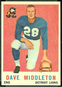 Dave Middleton 1959 Topps football card