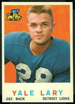 Yale Lary 1959 Topps football card