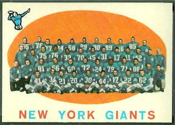 New York Giants Team 1959 Topps football card