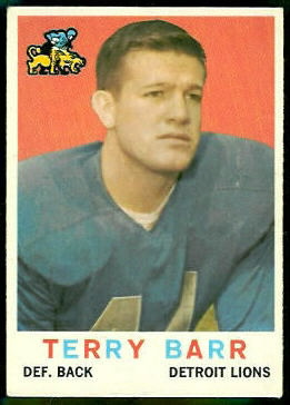 Terry Barr 1959 Topps football card