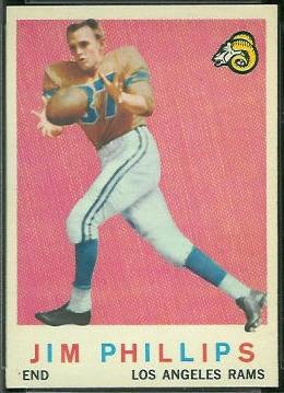 Jim Phillips 1959 Topps football card