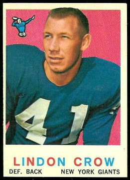 Lindon Crow 1959 Topps football card