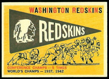 Redskins Pennant 1959 Topps football card