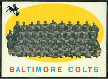 Baltimore Colts Team 1959 Topps football card