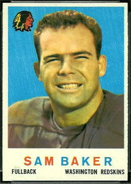 Sam Baker 1959 Topps football card