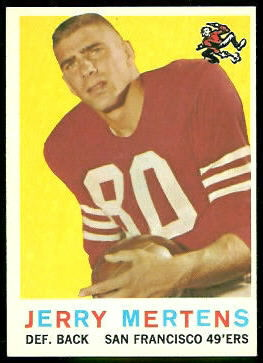 Jerry Mertens 1959 Topps football card
