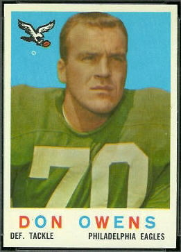 Don Owens 1959 Topps football card