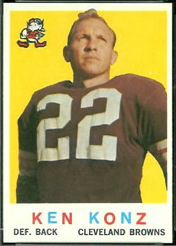 Ken Konz 1959 Topps football card