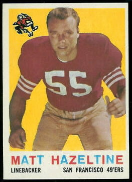 Matt Hazeltine 1959 Topps football card