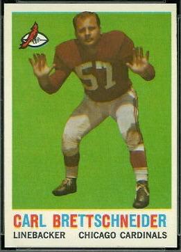 Carl Brettschneider 1959 Topps football card