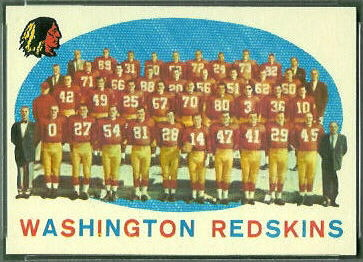Washington Redskins Team 1959 Topps football card