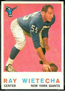 Ray Wietecha 1959 Topps football card