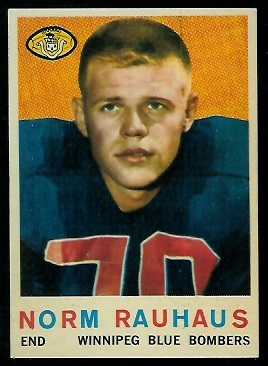 Norm Rauhaus 1959 Topps CFL football card