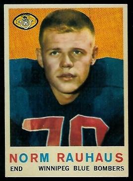 Norm Rauhaus 1959 Topps CFL football card