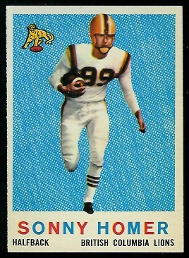 Sonny Homer 1959 Topps CFL football card