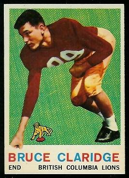 Bruce Claridge 1959 Topps CFL football card